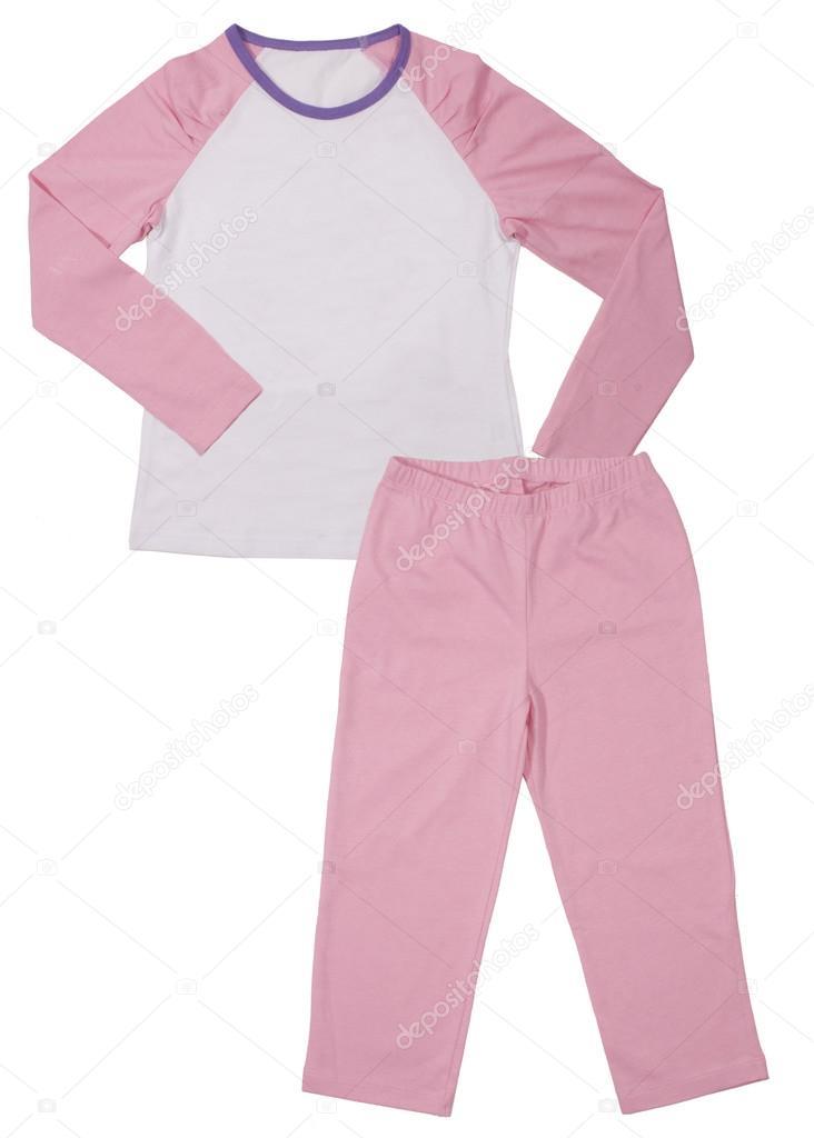 0ce73d4698 Pijama rosa niños niñas conjunto aislado sobre fondo blanco — Foto de ...