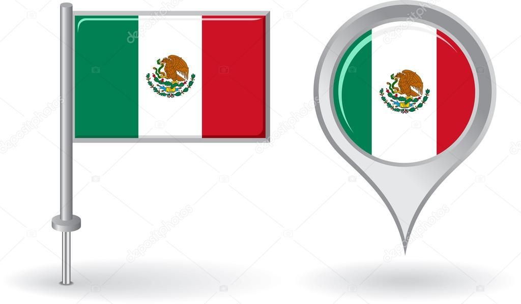 Iconos de la bandera mexicana | Bandera puntero icono y mapa de pin ...