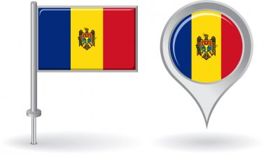 Moldovan pin icon and map pointer flag. Vector