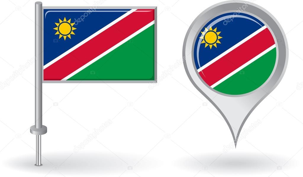 Mapa Con Un Puntero Ubicación: Bandera Puntero Icono Y Mapa De Namibia Pin. Vector De