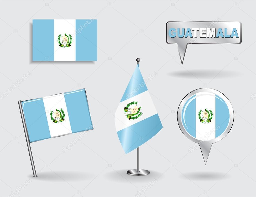 Mapa Plano Con Pin Icono De Puntero De La: Conjunto De Banderas De Puntero Pasador, Icono Y Mapa De