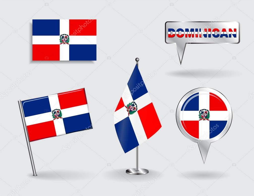 Mapa Plano Con Pin Icono De Puntero De La: Conjunto De Banderas De Puntero Pasador, Icono Y Mapa