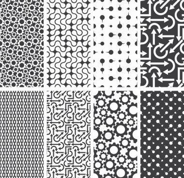 Set of seamless patterns backgrounds. Vector illustration.