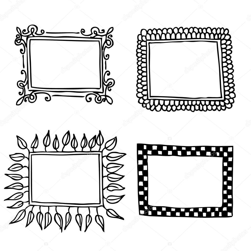 Marcos en blanco y negro — Archivo Imágenes Vectoriales © helenka ...