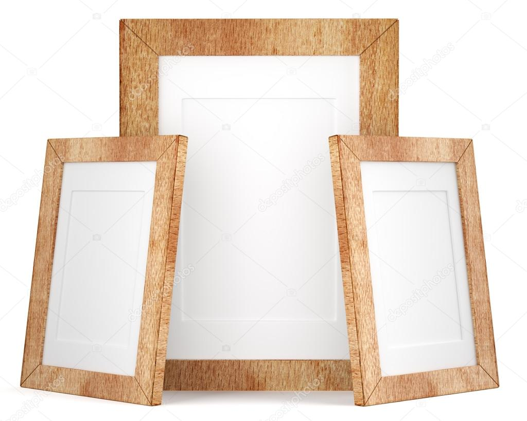 Three wooden frames isolated on white background — Stock Photo ...