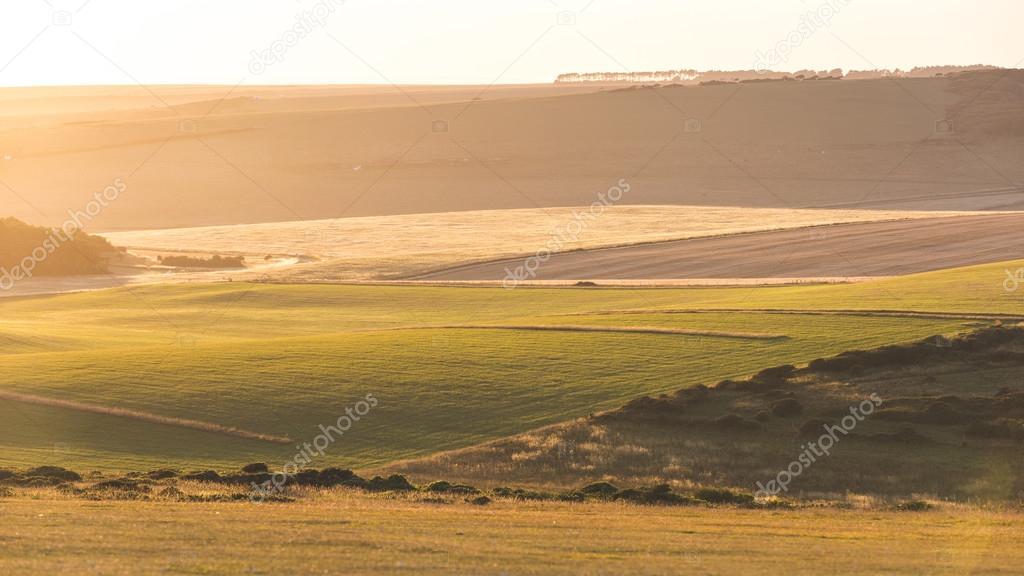 Panoramisch Uitzicht Op Engels Platteland Bij Zonsondergang