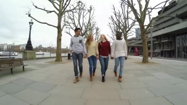 Multiracial group of friends walking in London