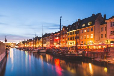 Colorful houses in Copenhagen old town at night