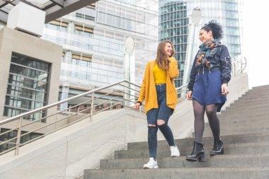 Lesbian couple walking in Berlin