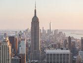 Letecký pohled na Manhattan, New York, při západu slunce