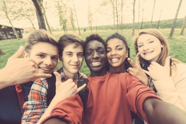 Group of multiethnic teenagers taking a selfie at park. Two boys and one girl are caucasian, one boy and one girl are black. Friendship, immigration, integration and multicultural concepts. stock vector
