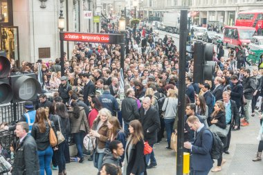 Crowd at tube station in London