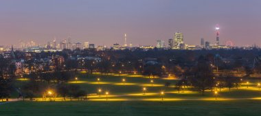 London from Primrose Hill park at dusk