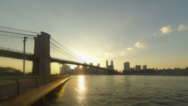 Time-lapse view of downtown Manhattan in New York at sunset