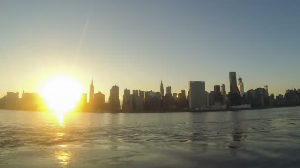 Time-lapse view of mid-town Manhattan in New York at sunset
