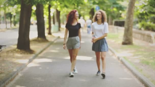 Dvě krásné dívky, chůzi a směje se v parku