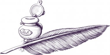 Inkwell and quill pen