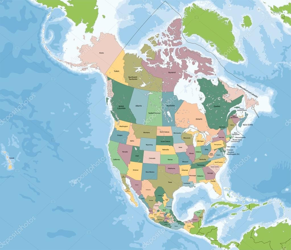 Usa Canada Mexico Map North America Map With Usa Canada And