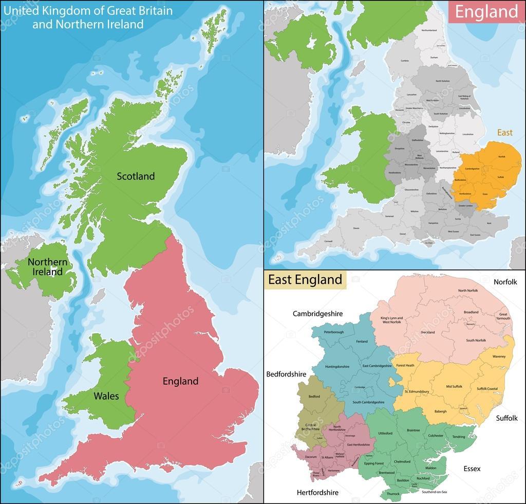 anglia térkép Térkép Kelet Anglia — Stock Vektor © Volina #116411388 anglia térkép