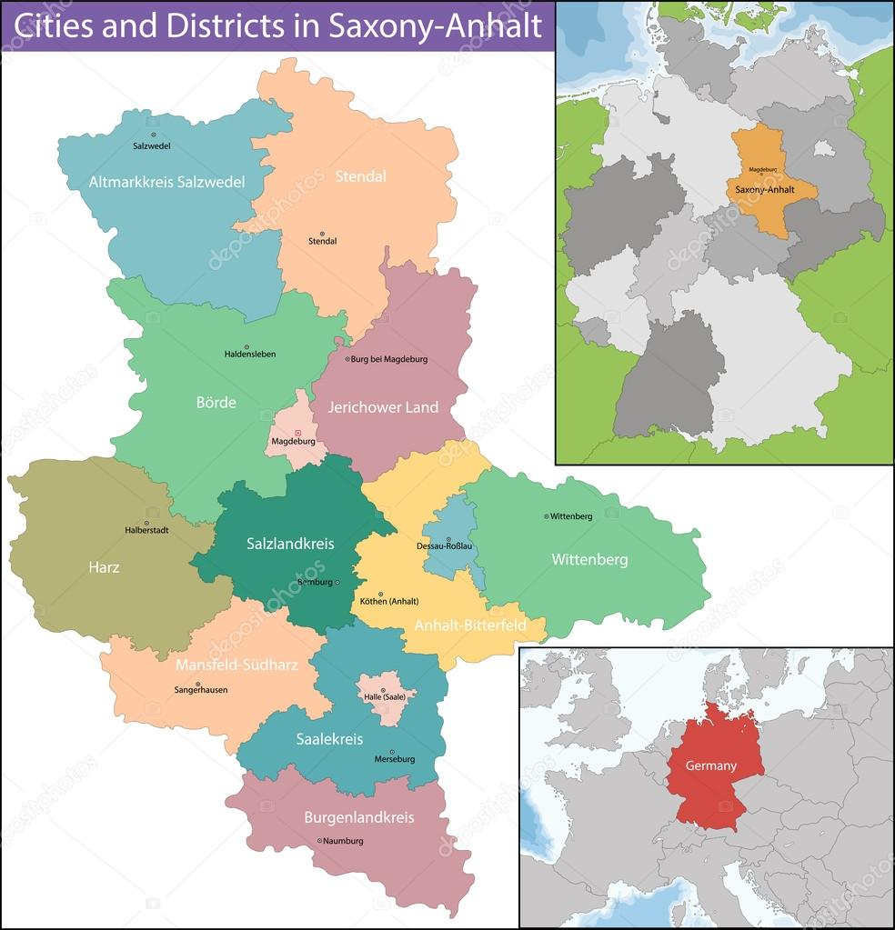 Karte Sachsen Anhalt.Karte Des Landes Sachsen Anhalt Stockvektor Volina 118250476