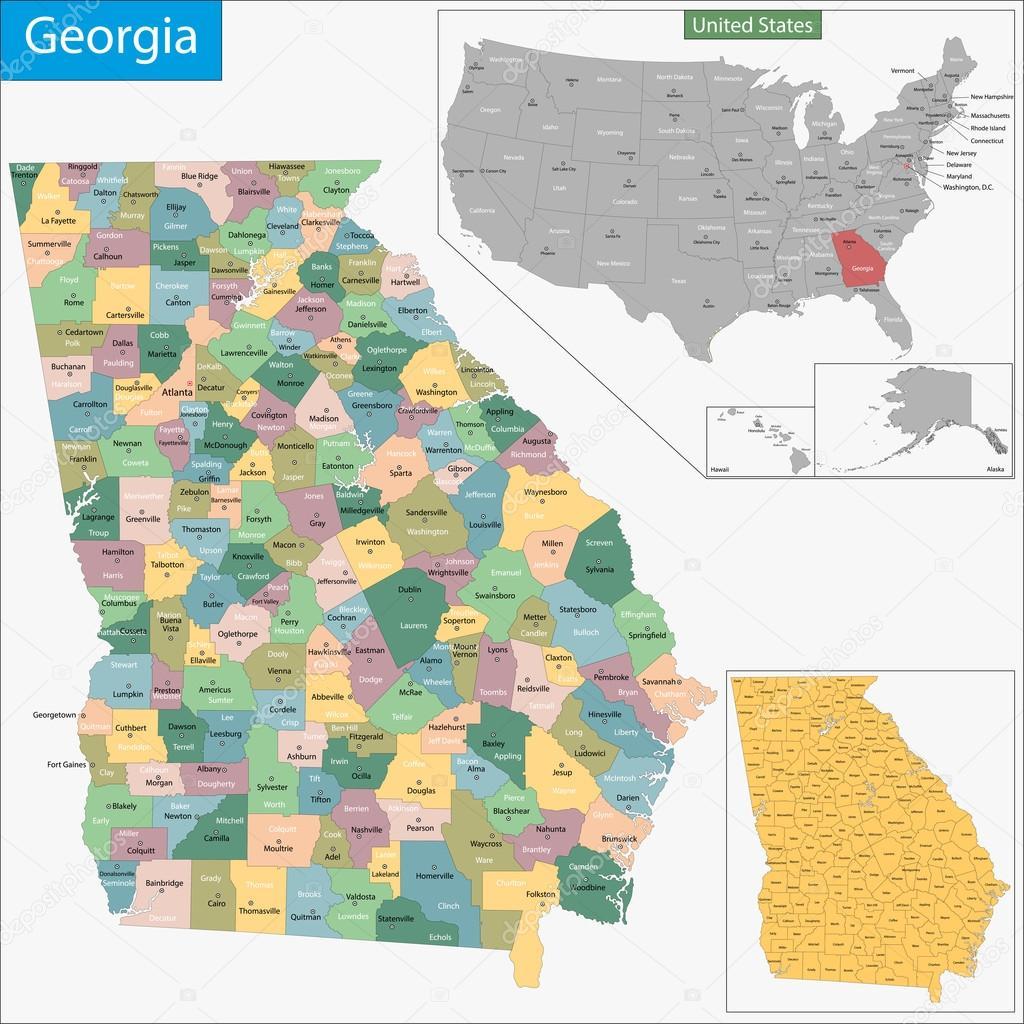 Mapa De Georgia Archivo Imágenes Vectoriales Volina - Mapa de georgia
