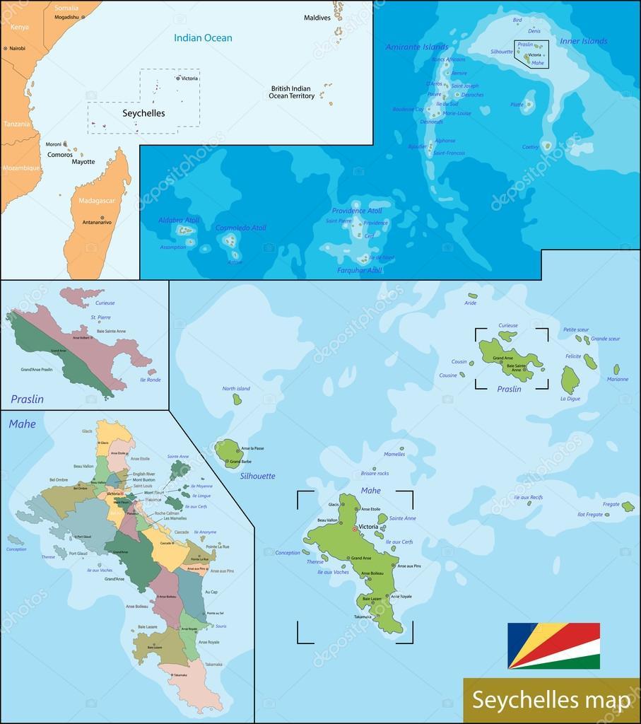Karte Seychellen.Karte Von Seychellen Stockvektor C Volina 64845597