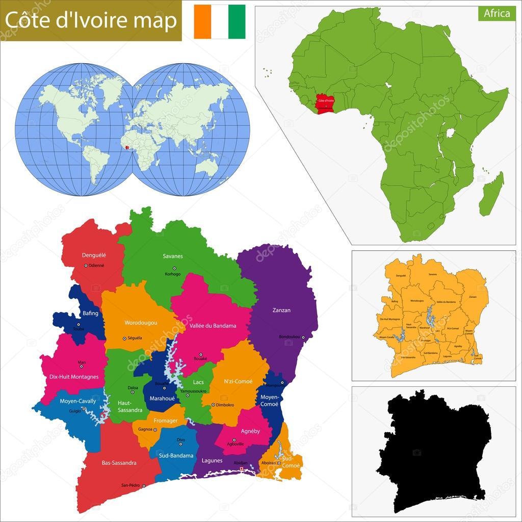 Ivory Coast Karte — Stockvr © Volina #68710037 on