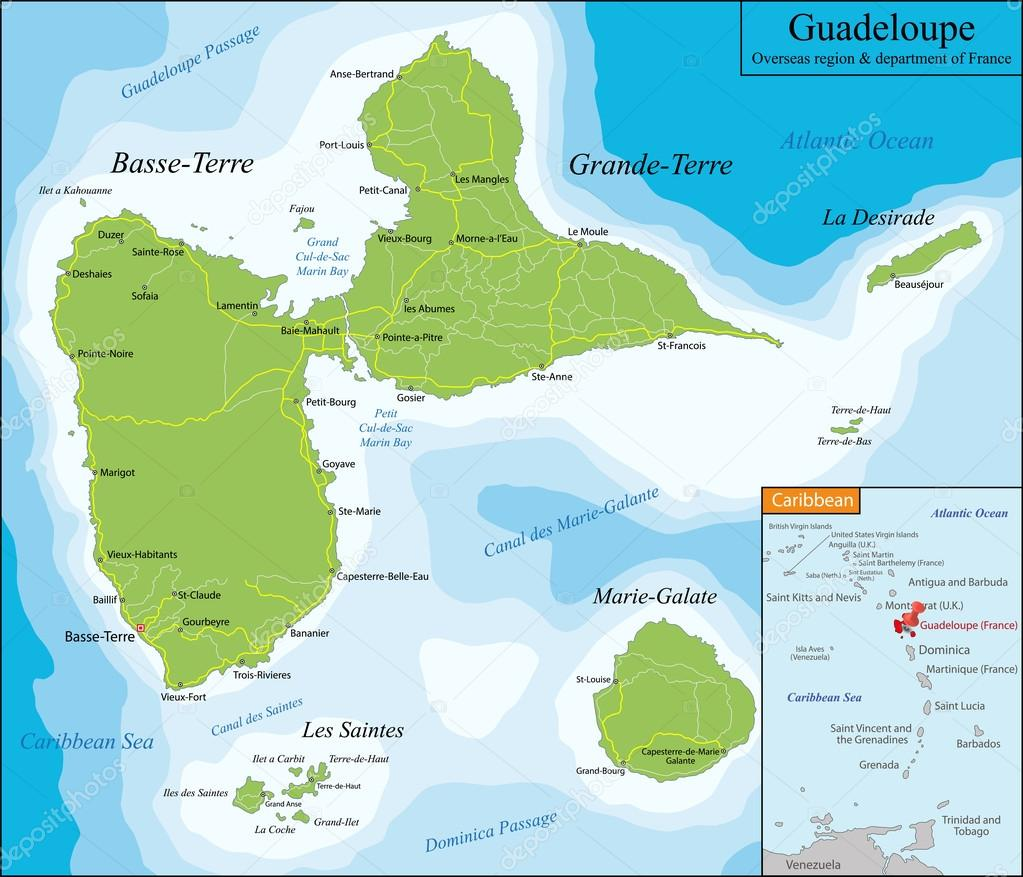 Map Of Guadeloupe Stock Vector C Volina 99323198