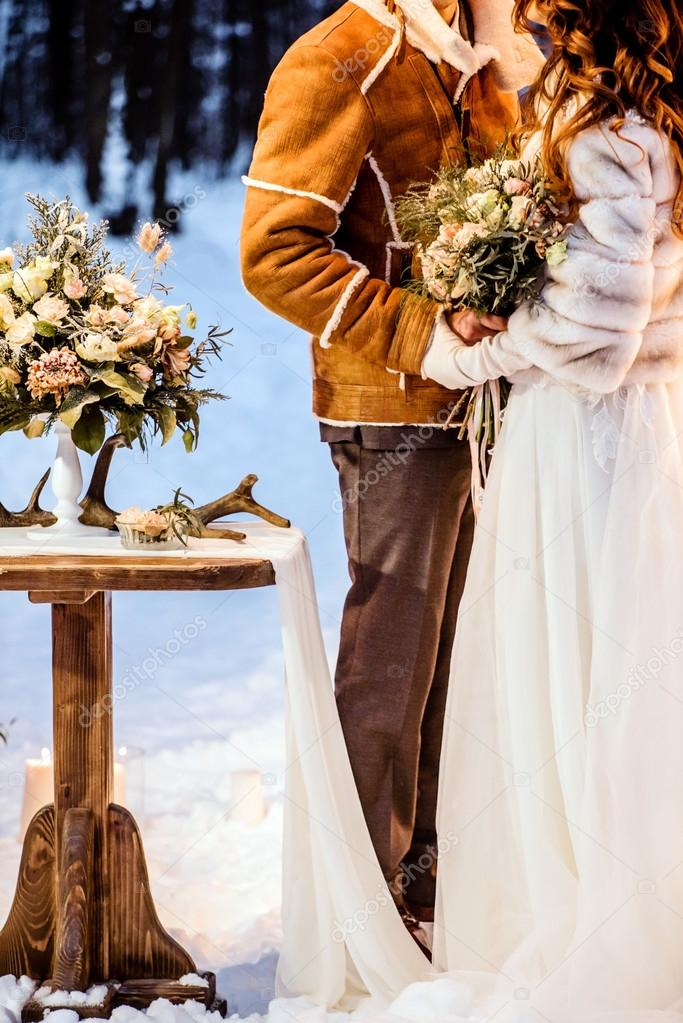 Beautiful Winter Wedding Stock Photo C Shebeko 100417354