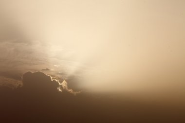 light rays in cloudy sky