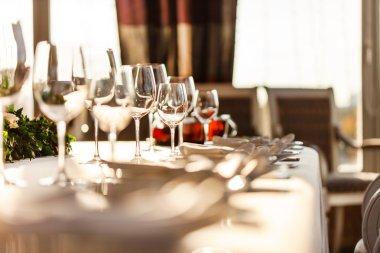 Restaurant banquet table decorations stock vector