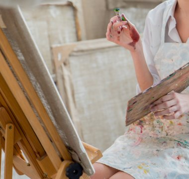 Female painter in her studio