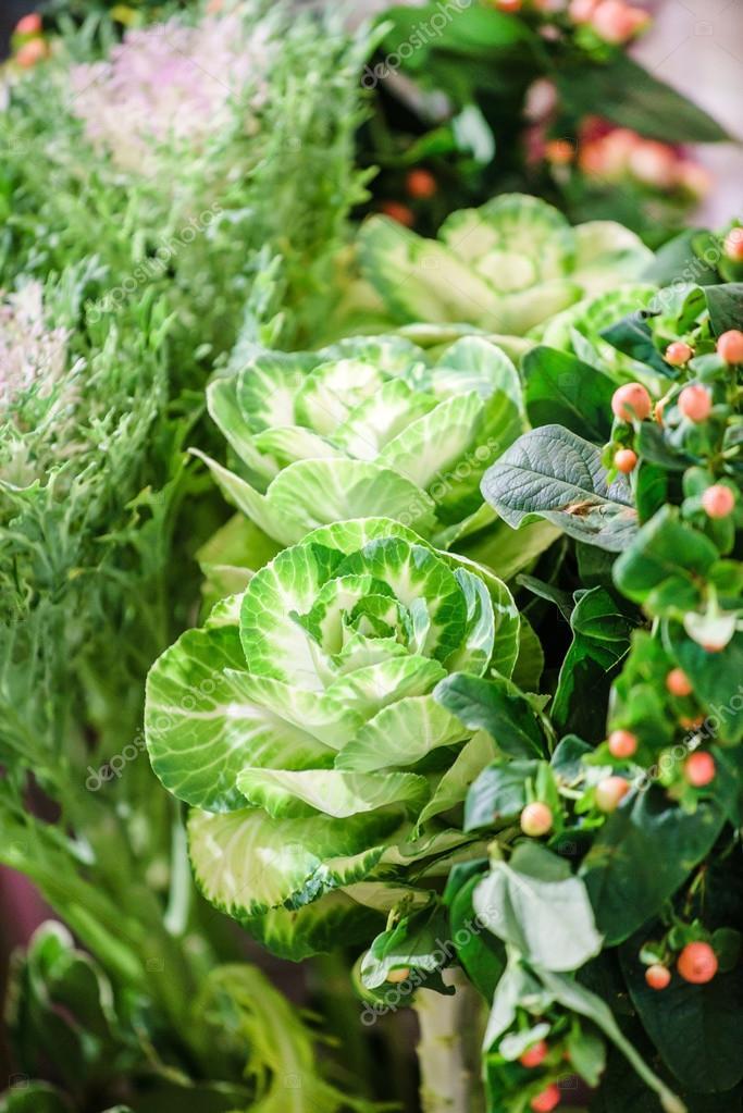 Decorative frozen cabbage