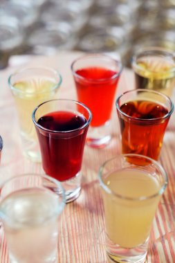 Alcohol drinks in glasses
