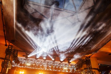 Concert stage with smoke