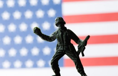 American soldier on flag background