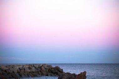 Blue  sunset over ocean