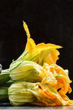 Fresh zucchini flowers