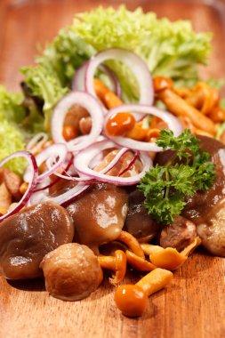 Pickled mushrooms, onion and salad leaves