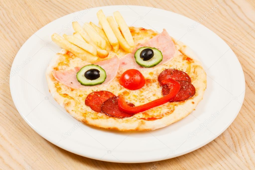 Dibujos Pizzas Graciosas Pizza Para Los Niños Con Cara