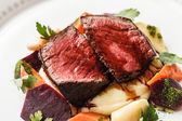 Steak with vegetables on plate