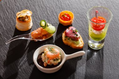 Tasty seafood canapes