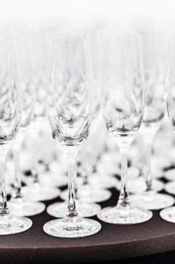 Empty wine glasses, close up stock vector