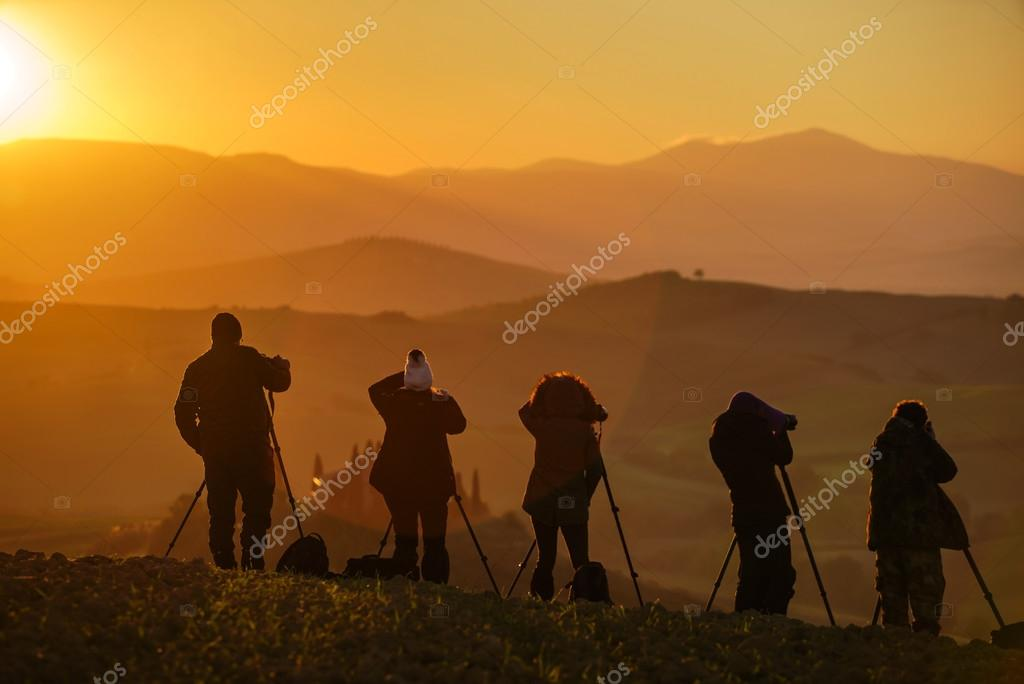 Silhouette of a landscape photographers