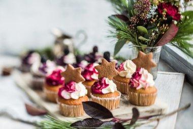 Christmas cupcakes on plate