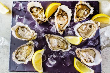 Opened Oysters on table