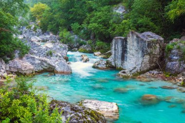 Turquoise river in the Triglav National Park