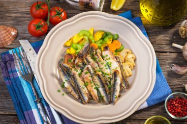 Grilled anchovy with celery