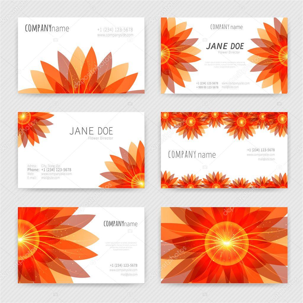 Satz Von Sechs Visitenkarten Mit Roten Blumen Design