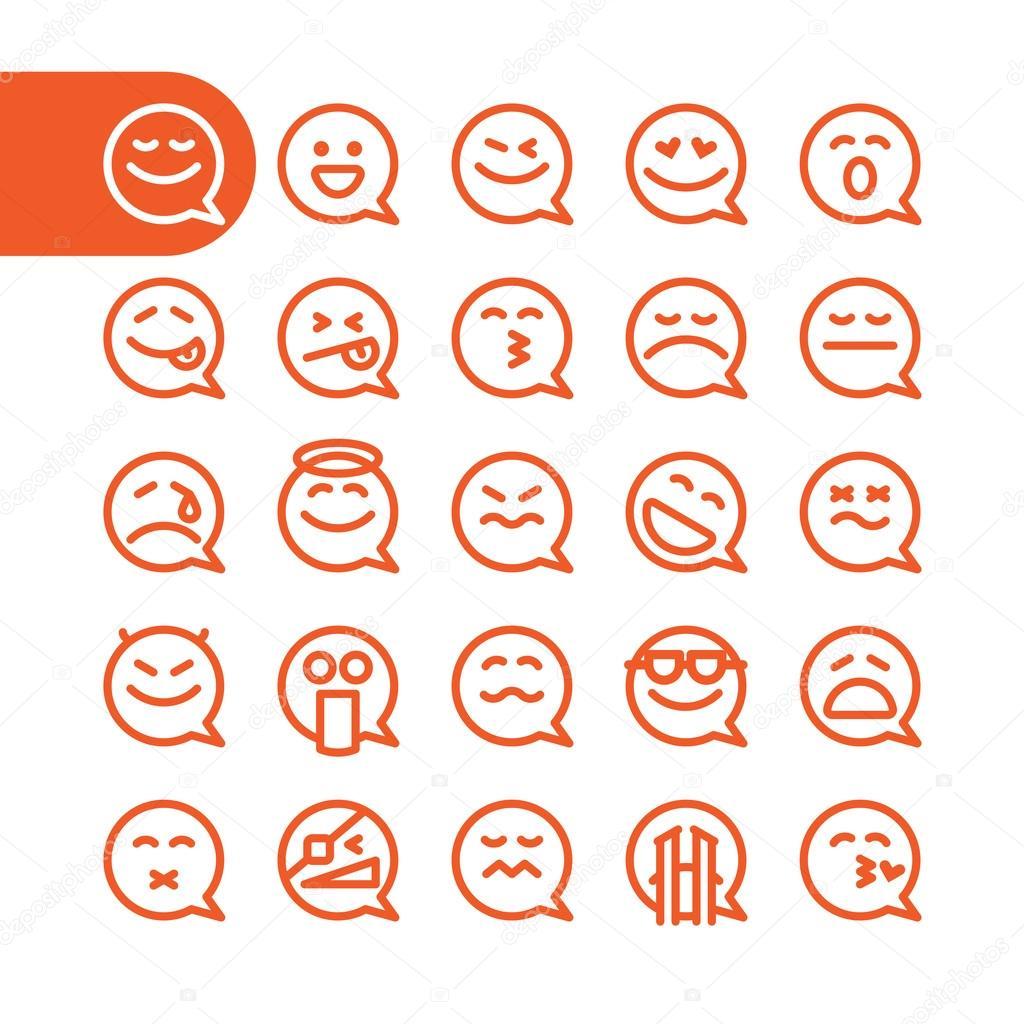 Set of emoji speech bubble emoticons — Stock Vector © nrey_ad #101570344